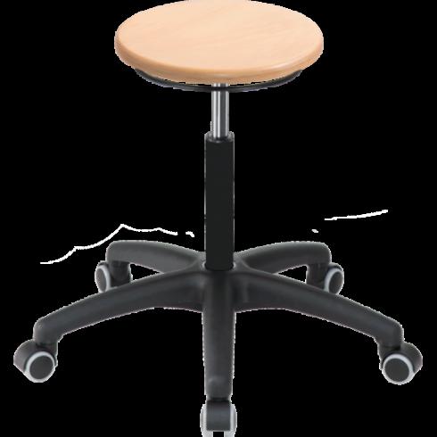 Taburete con asiento de haya regulable en altura