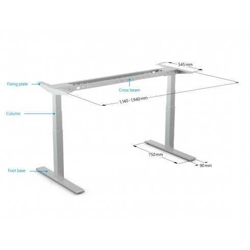 Bastidor de mesa de oficina sit-stand de 2 patas