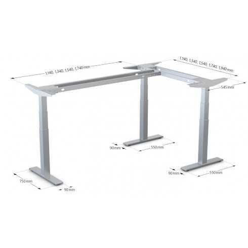 Bastidor de mesa de oficina sit-stand de 3 patas